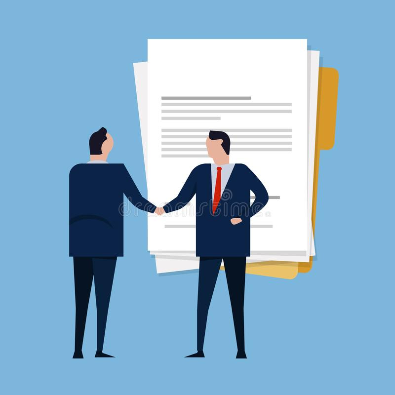 Contract paper document agreement. Business people standing handshake wearing suite formal. Concept business vector vector illustration