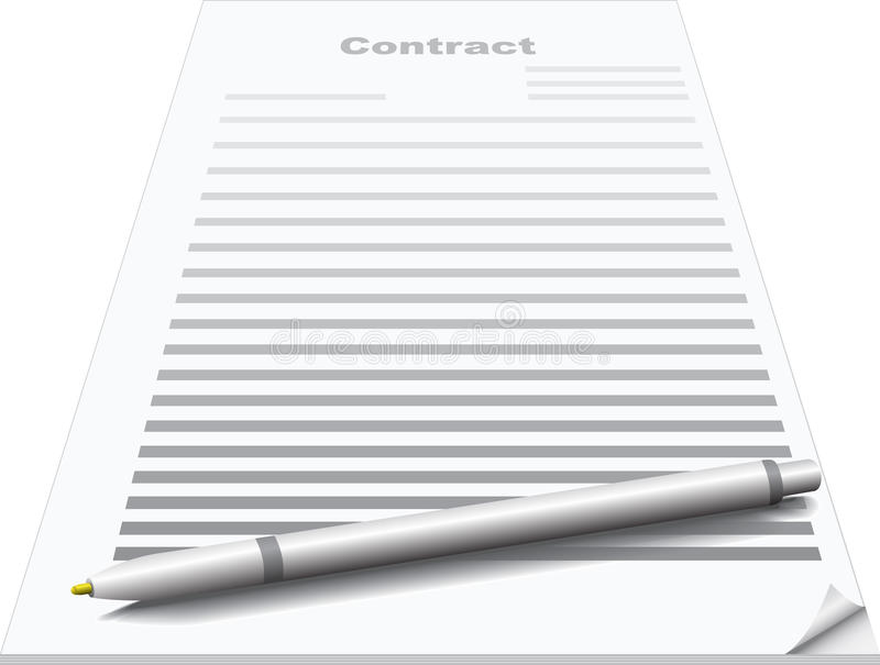 Contract and pen royalty free illustration