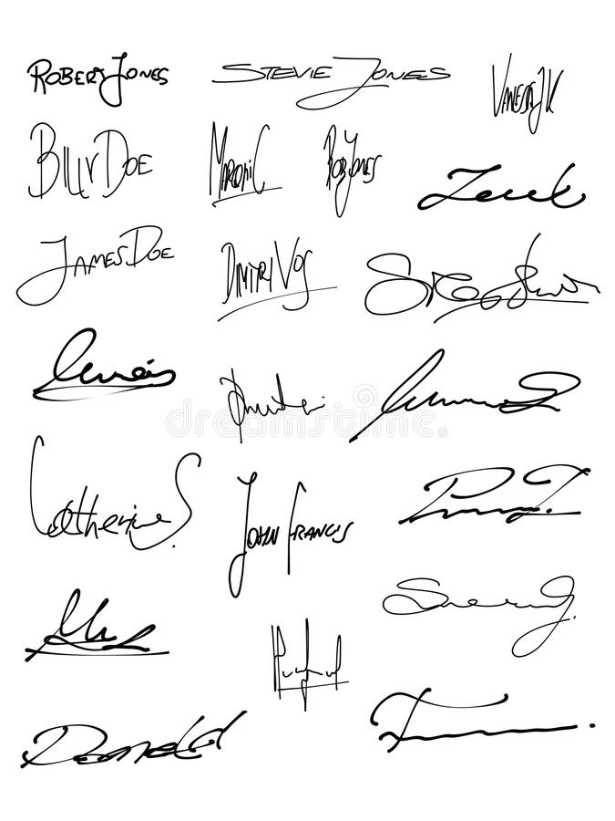 Contract signature. Signature set - collection of fictitious contract signatures. Business autograph illustration royalty free illustration
