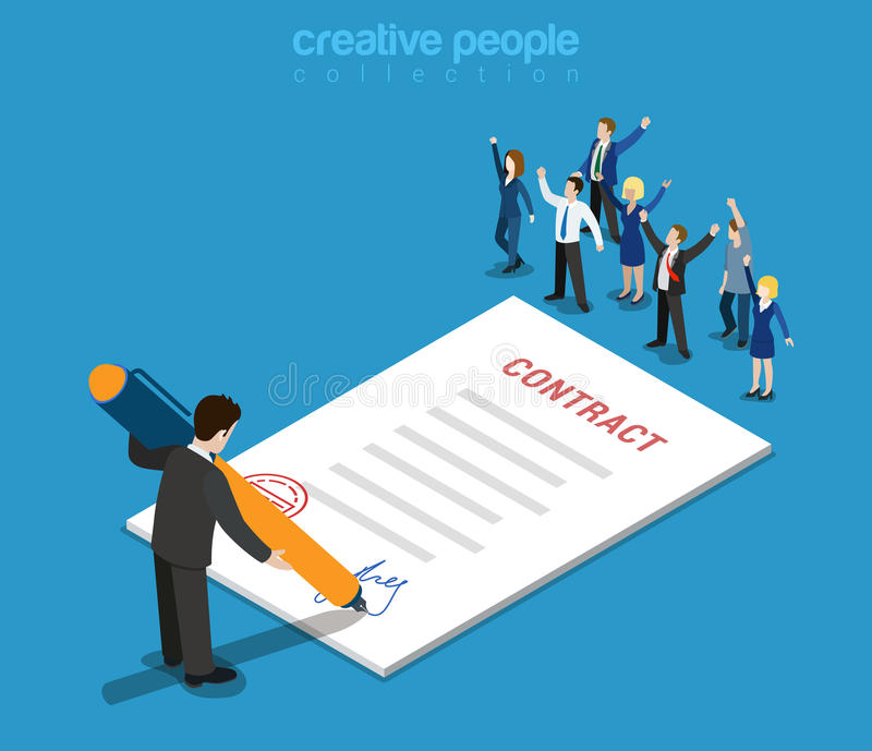Contract signature businessman flat isometric vector 3d. Flat 3d web isometric contract signature and casual micro people infographic concept vector. Little royalty free illustration
