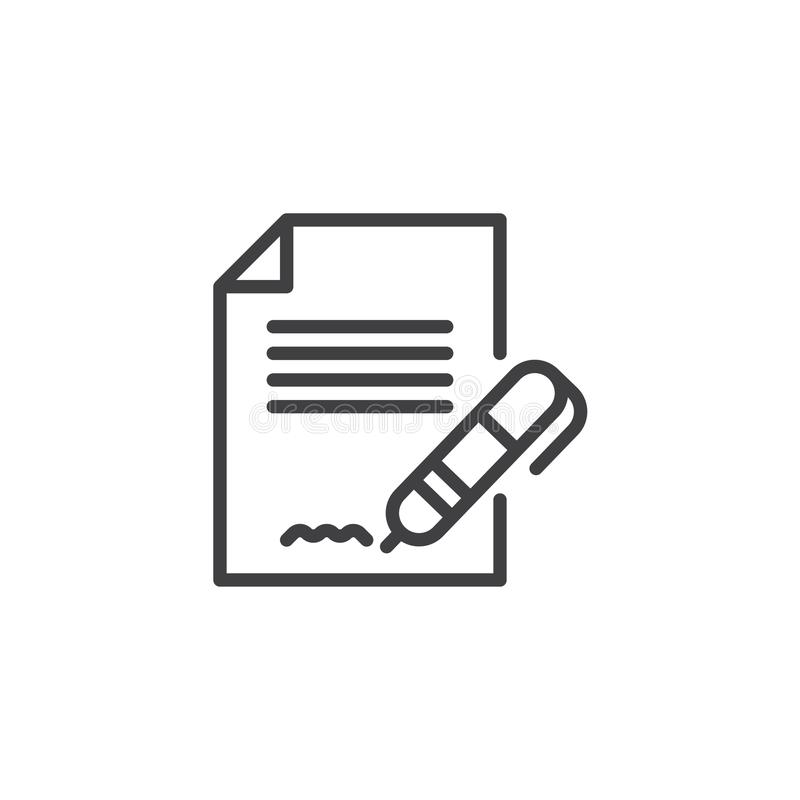 Contract signature outline icon. Linear style sign for mobile concept and web design. Pen signing a contract with signature simple line vector icon. Symbol stock illustration