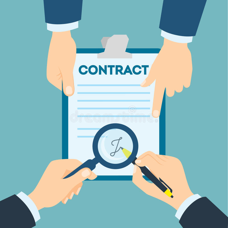 Contract signing handshake. Businessmen making business agreement. New business strategy and partnership vector illustration