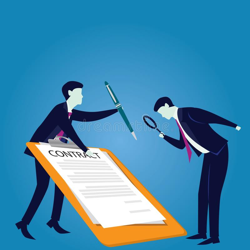 Contract Signing Legal Agreement Concept. Vector Illustration. Vector illustration. Business legal agreement concept. Businessman signing contract deal of royalty free illustration