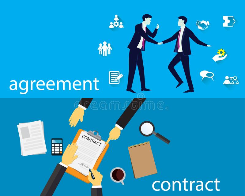 Contract Signing Legal Agreement Concept. Vector Illustration. Vector illustration. Business legal agreement concept. Businessman signing contract deal of stock illustration