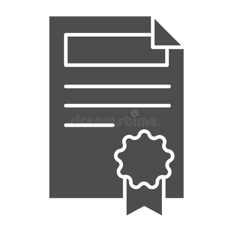 Contract solid icon. Document with stamp vector illustration isolated on white. Agreement paper glyph style design. Designed for web and app. Eps 10 vector illustration