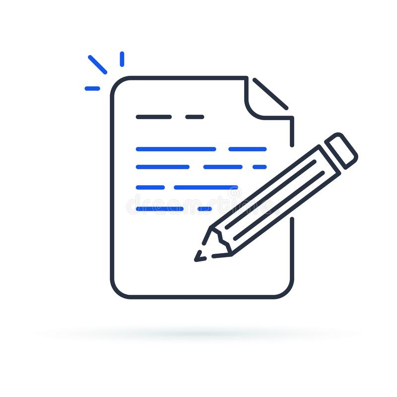 Contract terms and conditions. Document paper and creative writing or storytelling, business brief text. vector illustration