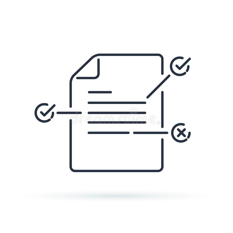 Contract terms and conditions. Document paper with creative writing or storytelling concept. Read brief summary. Assignment line icon thin stroke illustration stock illustration