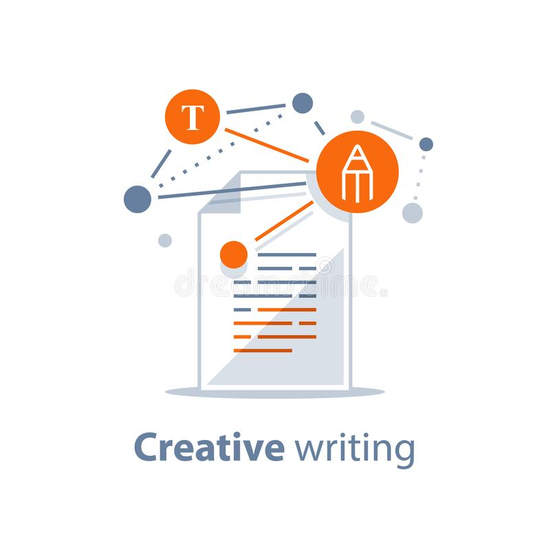 Contract terms and conditions, summary reading, storytelling and copywriting, creative writing, education test, exam preparation stock illustration