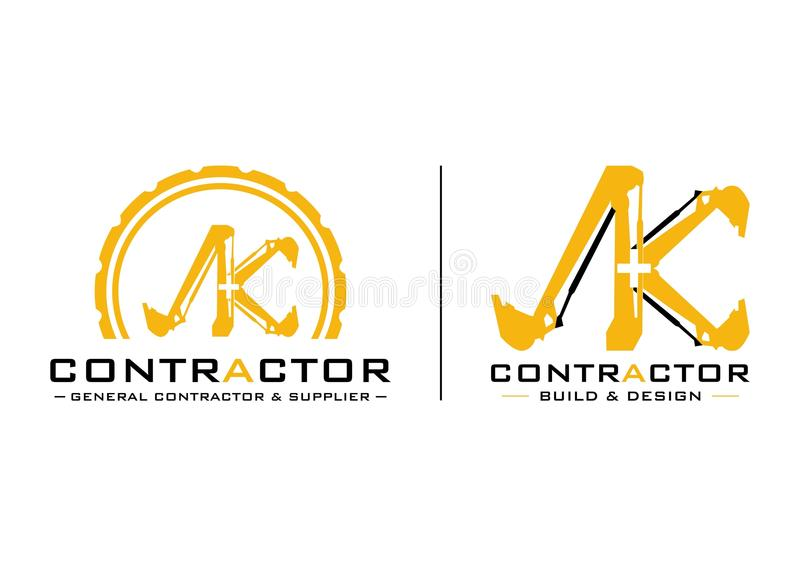 Contractant Logo Vector Design royalty-vrije stock afbeeldingen
