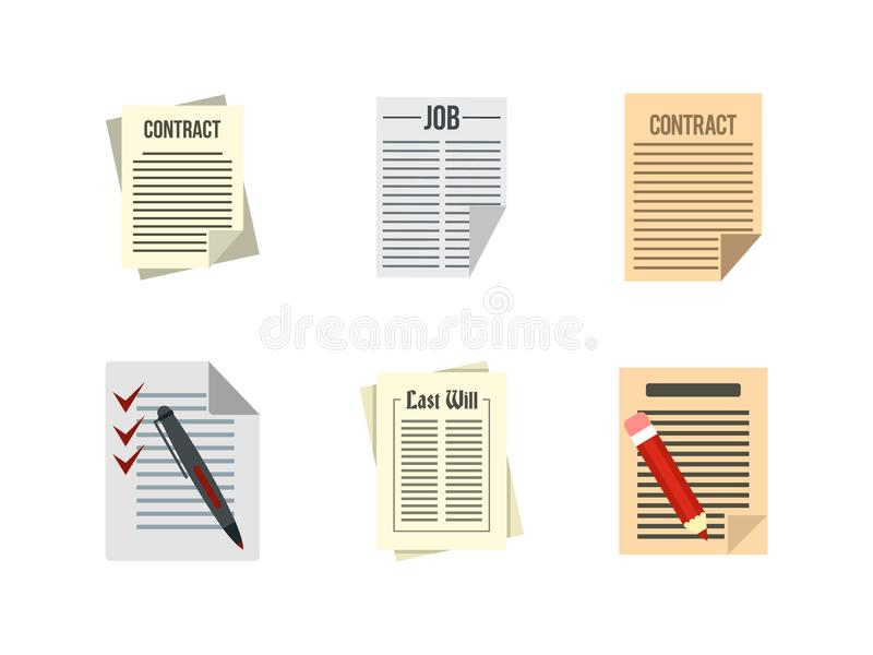 Download Contractdocument Pictogramreeks, Vlakke Stijl Vector Illustratie - Illustratie bestaande uit overeenkomst, vorm: 107707017