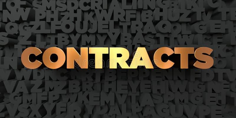 Contracten - Gouden tekst op zwarte achtergrond - 3D teruggegeven royalty vrij voorraadbeeld stock illustratie