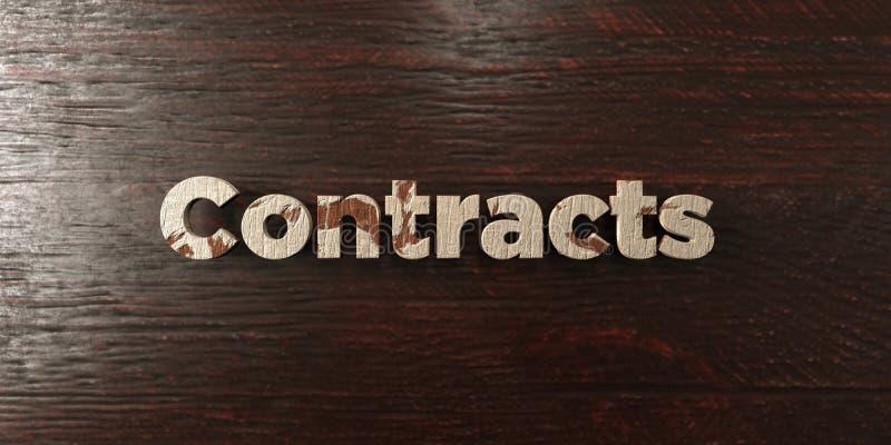 Contracten - grungy houten krantekop op Esdoorn - 3D teruggegeven royalty vrij voorraadbeeld vector illustratie
