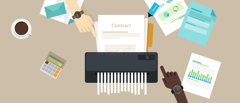 Contractez les affaires de société cassées par annulation du destructeur de papier d'accord d'échec aucune affaire illustration stock