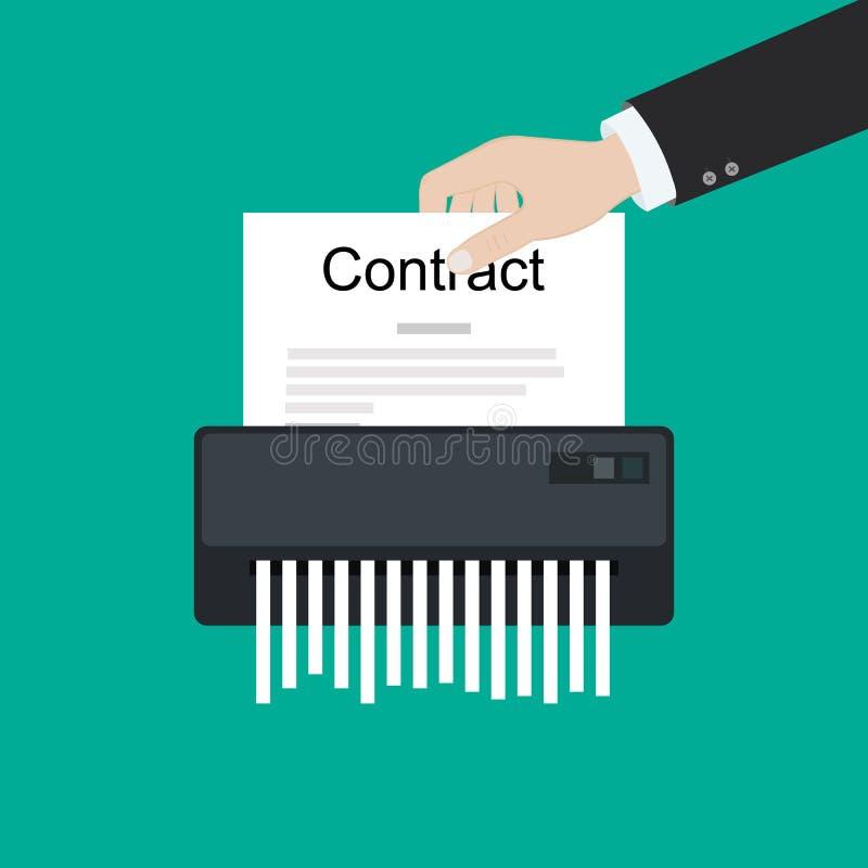 Contractez les affaires de société cassées par annulation du destructeur de papier d'accord d'échec aucune affaire illustration de vecteur