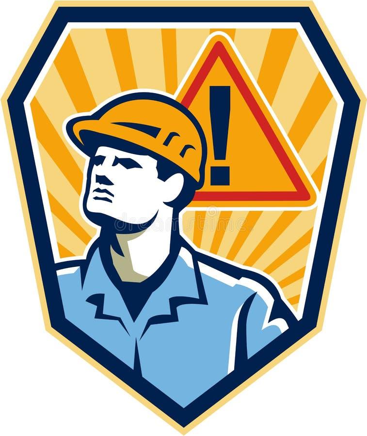 Contractor Construction Worker Caution Sign Retro vector illustration