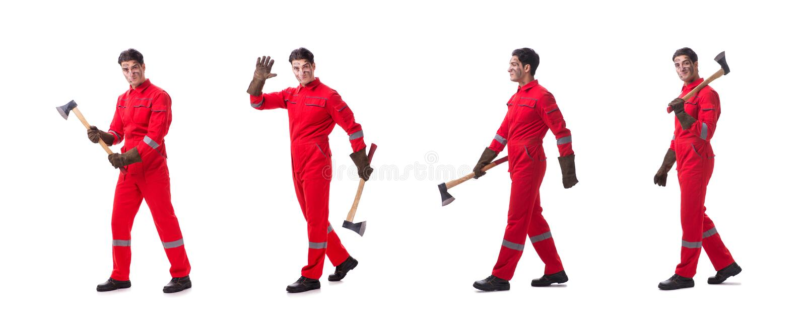 Contractor employee with axe on white background. Contractor employee with axe on white royalty free stock photo