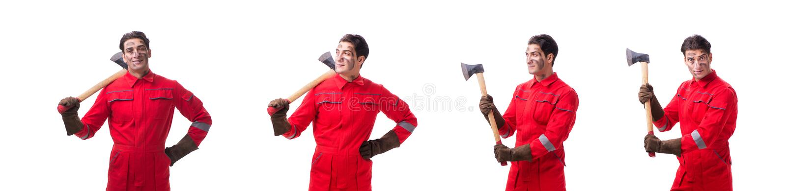 The contractor employee with axe on white background. Contractor employee with axe on white background royalty free stock images