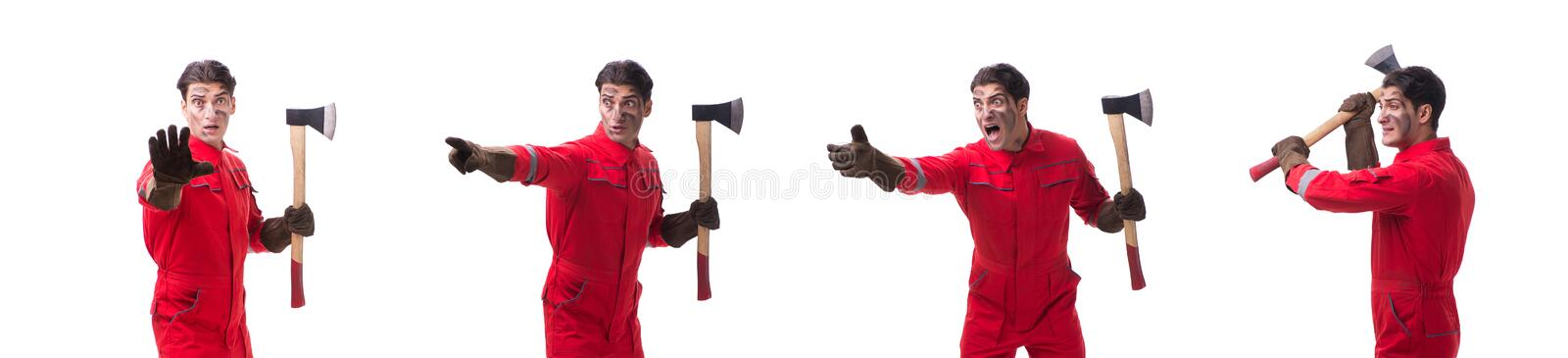 The contractor employee with axe on white background. Contractor employee with axe on white background stock photo