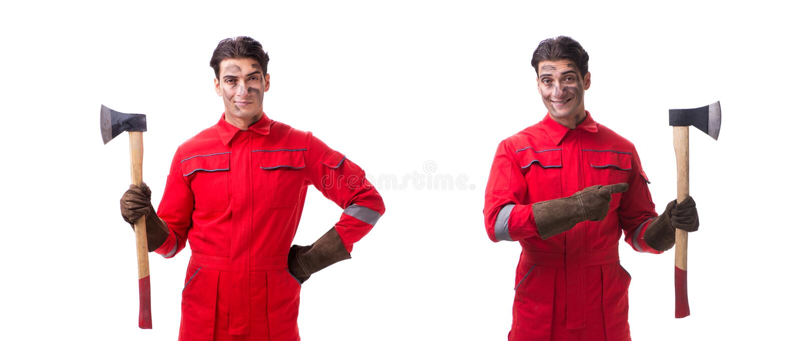 The contractor employee with axe on white background. Contractor employee with axe on white background stock photos