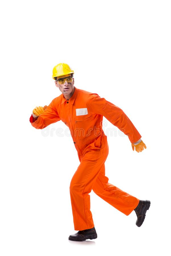 The contractor employee wearing coveralls isolated on white. Contractor employee wearing coveralls isolated on white royalty free stock image