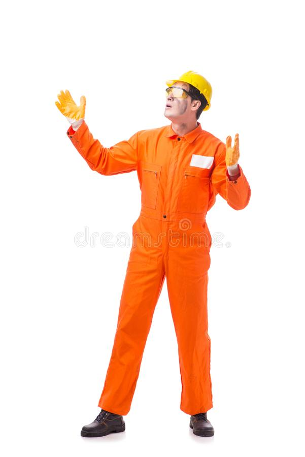 The contractor employee wearing coveralls isolated on white. Contractor employee wearing coveralls isolated on white stock images