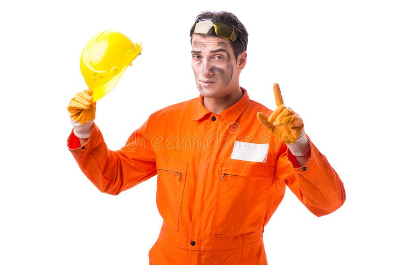 The contractor employee wearing coveralls isolated on white. Contractor employee wearing coveralls isolated on white stock photography