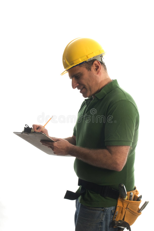 Contractor repairman with tool belt and hammer stock image