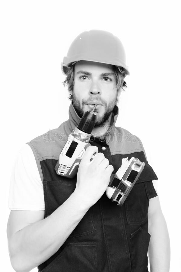 Contractor and tool.Concept of finished work and professional skills stock photo