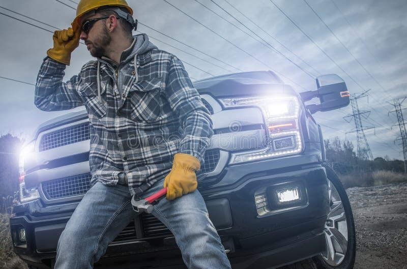 Contractor Worker Taking Break stock photo
