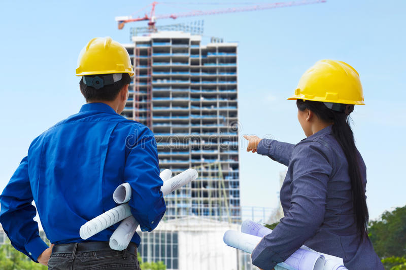 Contractors and building projects stock photo