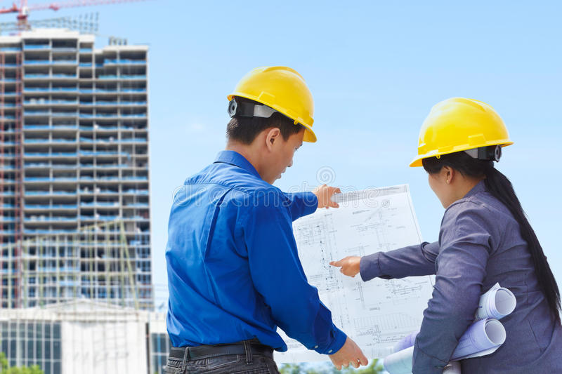 Contractors and building projects royalty free stock image