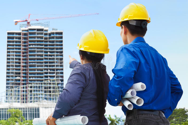 Contractors and building projects stock photos