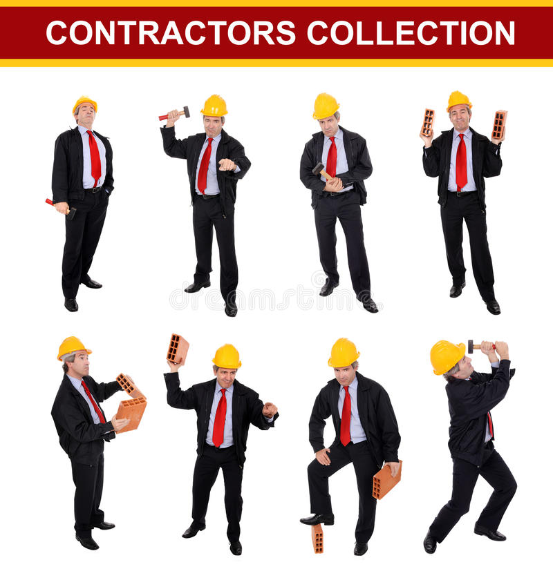 Contractors collection. A collection of middle-aged contractors with yellow hardhats isolated on white studio background royalty free stock photography