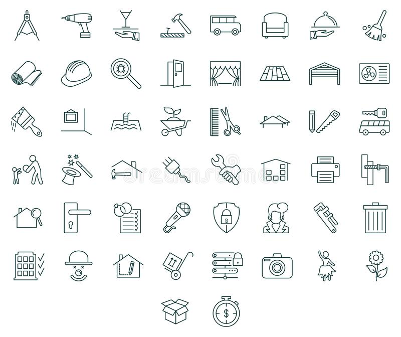 Contractors and tools icon set. Contractors and tools linear symbols. Flat and monochrome style royalty free illustration