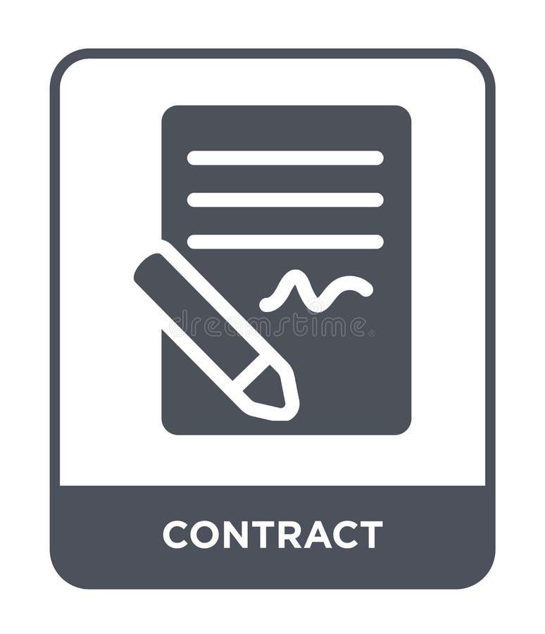 contractpictogram in in ontwerpstijl Contractpictogram op witte achtergrond wordt geïsoleerd die eenvoudige en moderne vlakte van royalty-vrije illustratie