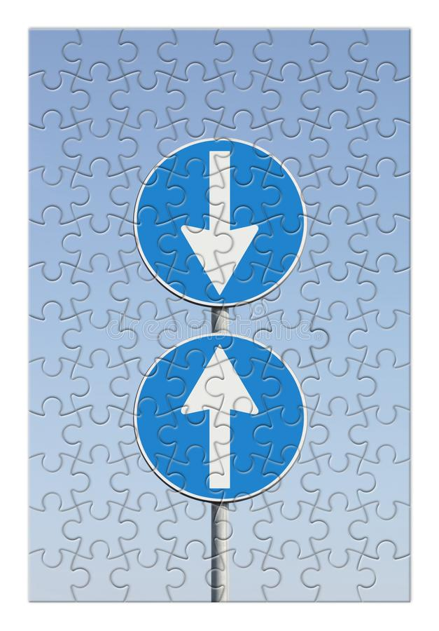 Contradiction concept image with road signs in jugsaw puzzle shape.  stock image