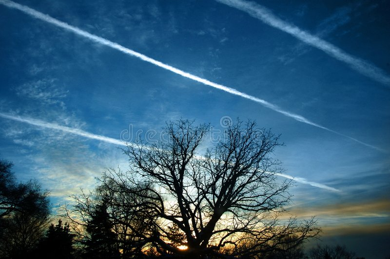 Contrails stock photography