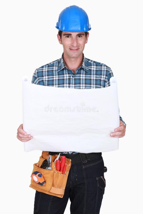 Contramestre com um plano foto de stock