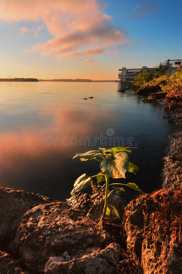 Contrary to life. Majestic Sunrise on the Dnieper. Dnipropetrovsk, Ukraine stock image