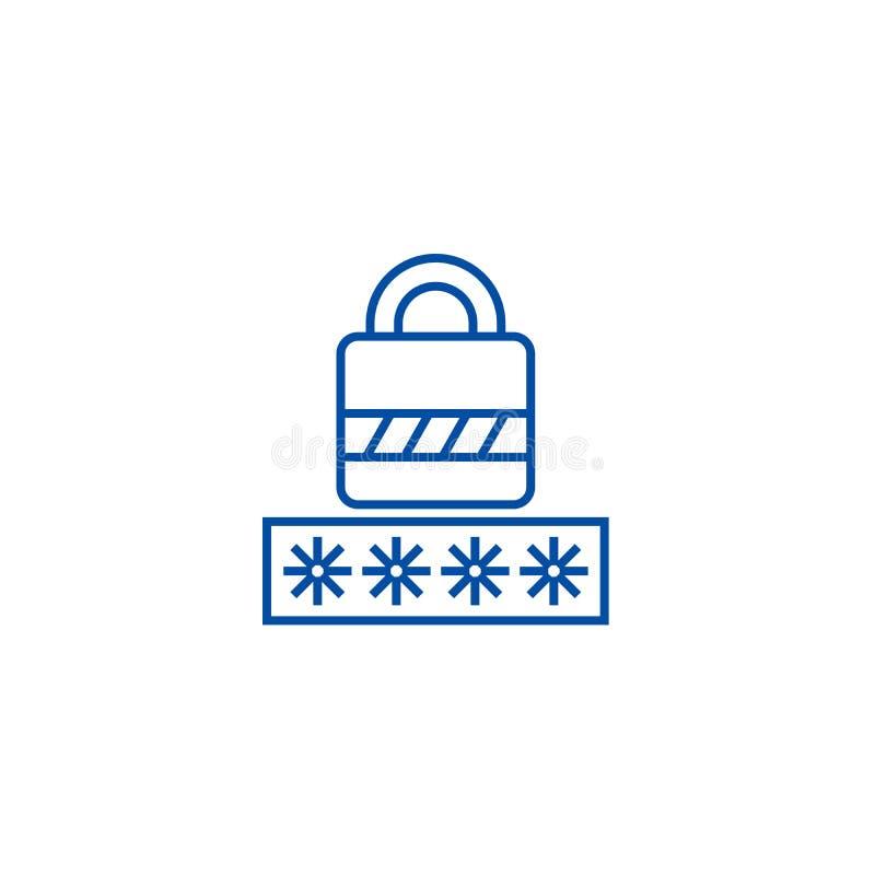 Contraseña, línea de cerradura de la clave concepto del icono Contraseña, símbolo plano del vector de la cerradura de la clave, m libre illustration