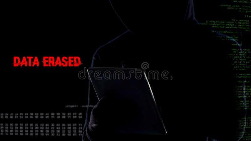 Contraseña que se agrieta del pirata informático anónimo y borradura de toda la base de datos de los ficheros usando la tableta imágenes de archivo libres de regalías