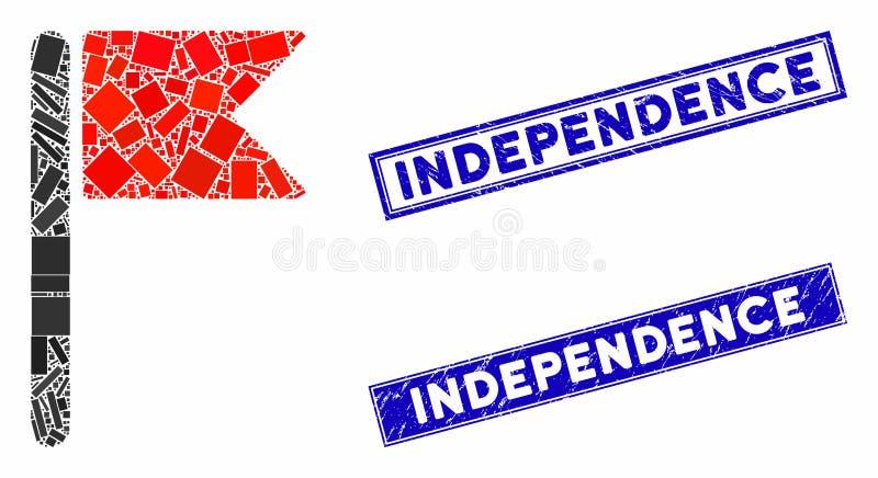 Contrassegna sigilli di indipendenza del cerchio e del Mosaico illustrazione vettoriale