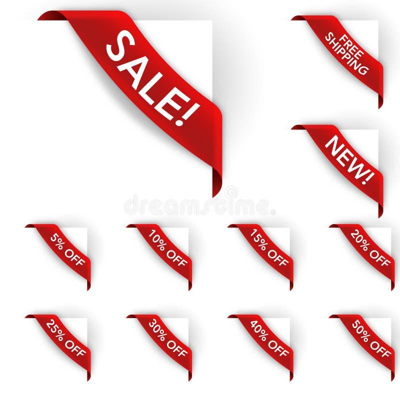 Contrassegni dell'angolo di sconto e di vendita royalty illustrazione gratis