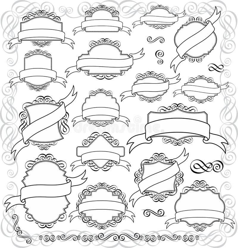 Contrassegni dell'annata ed elementi di disegno illustrazione di stock