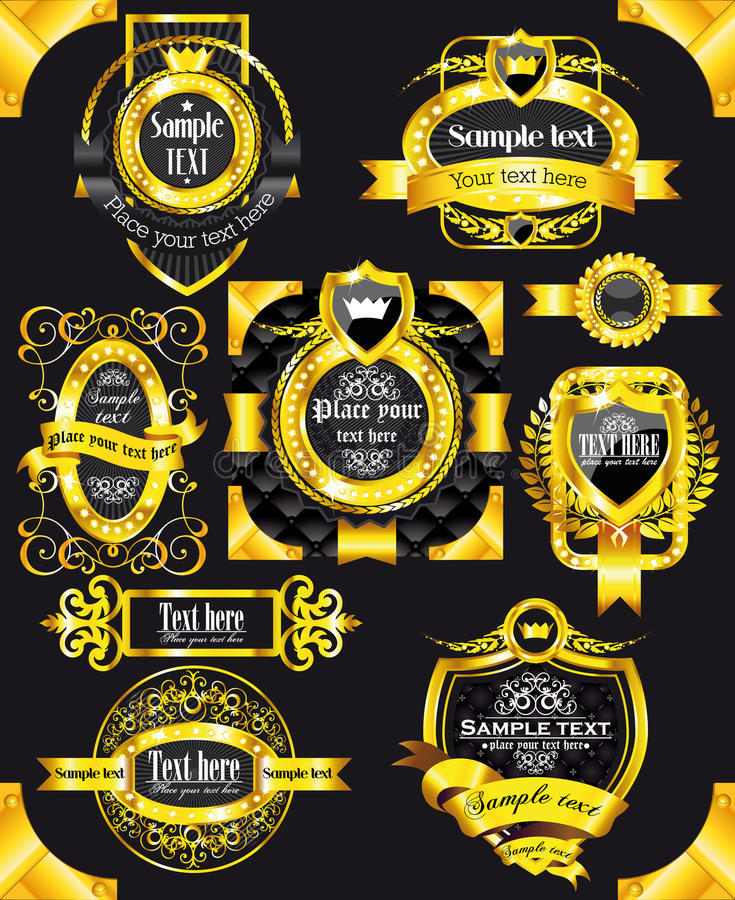 Contrassegni dorati del nero dell'annata illustrazione vettoriale