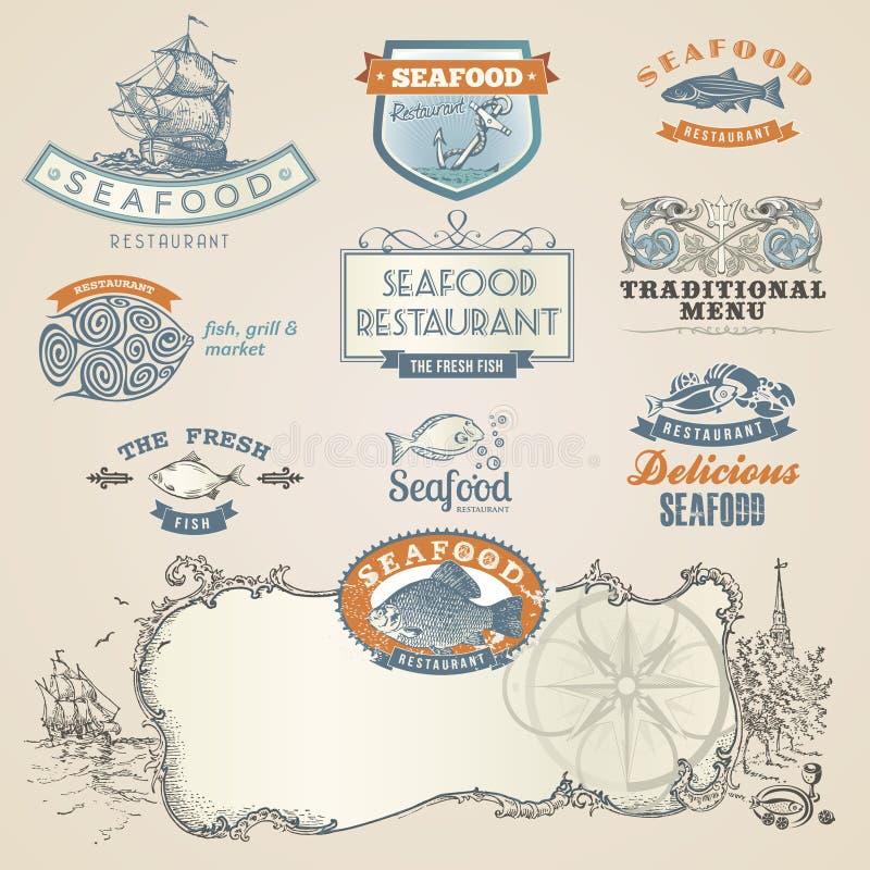 Contrassegni ed elementi dei frutti di mare illustrazione di stock