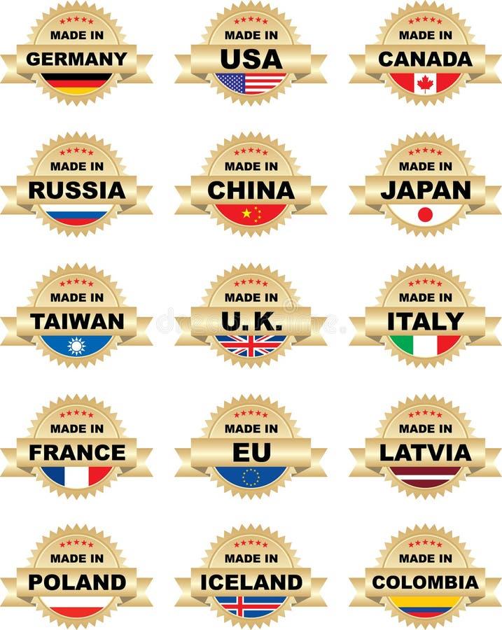Contrassegni FATTI DENTRO con differenti paesi immagini stock libere da diritti
