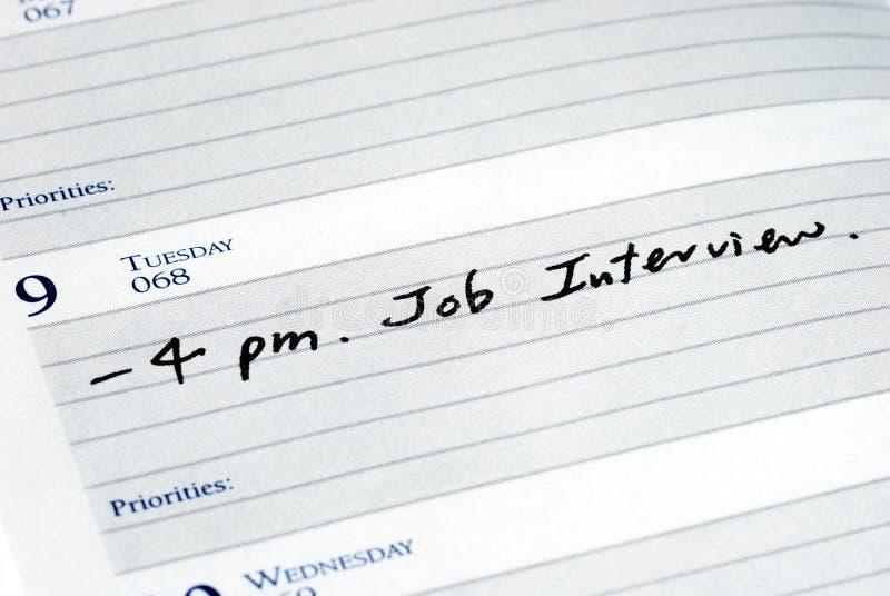 Contrassegni l'intervista di job fotografia stock
