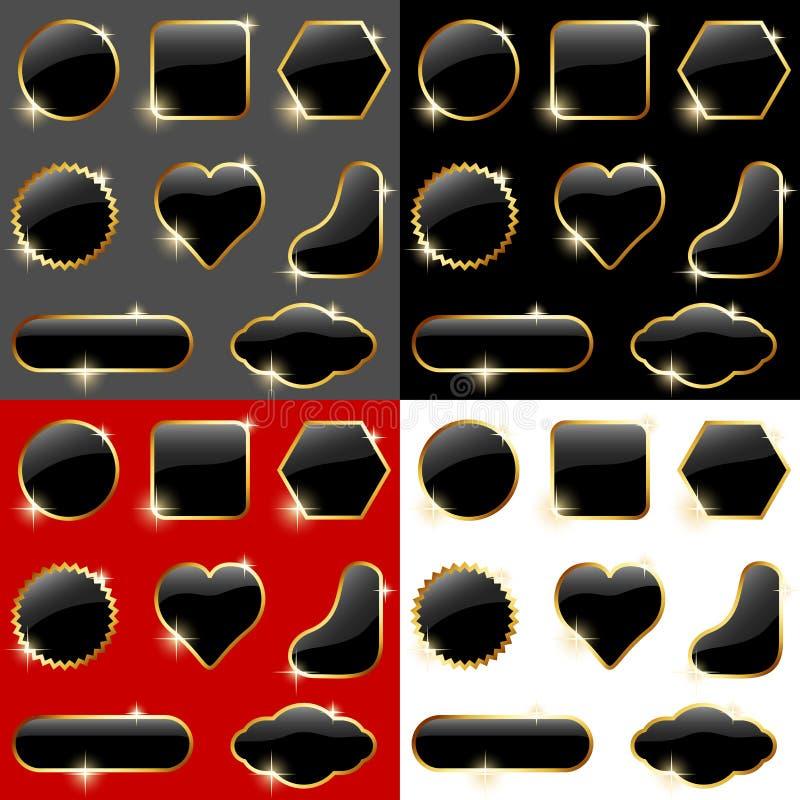 Contrassegni lucidi neri illustrazione vettoriale