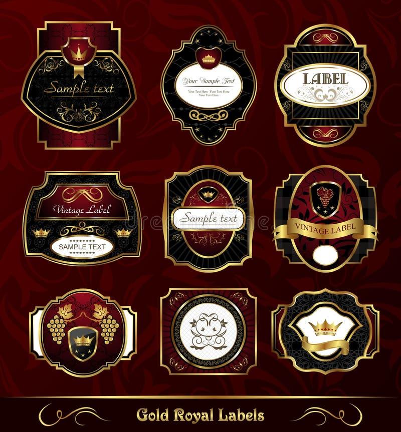 Contrassegni oro-incorniciati scuri stabiliti royalty illustrazione gratis